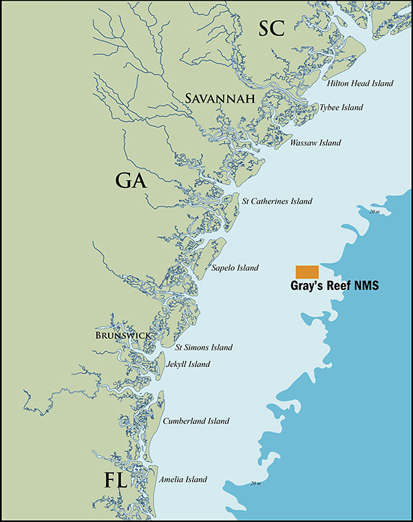 Gray's Reef National Marine Sanctuary highlighted on a map off of Coastal Georgia